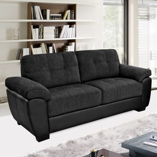 Add style and beauty to your living area with a black for Black fabric couches
