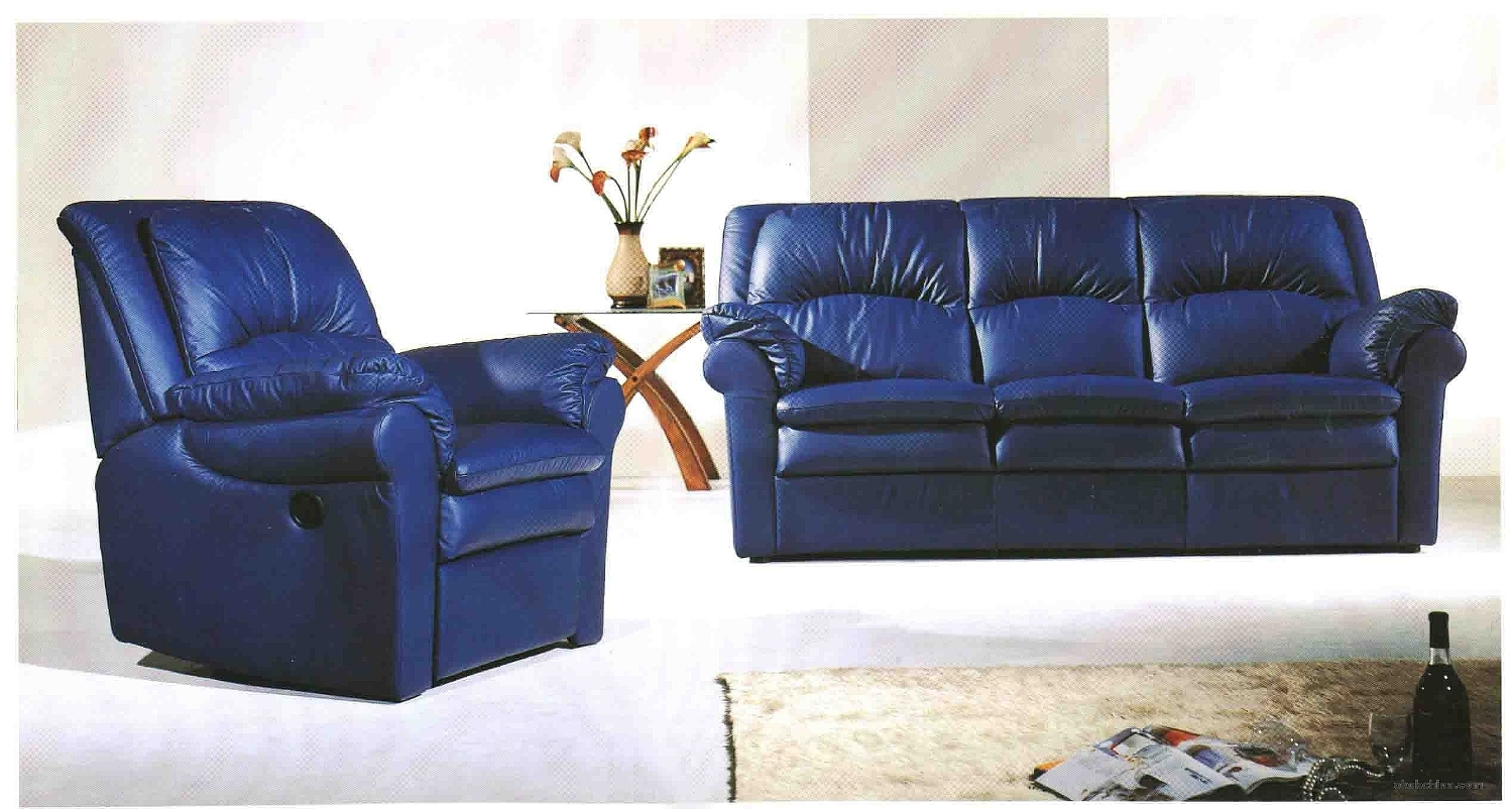 Get the best of 2016 sofas market blue reclining sofas 13 for Blue leather reclining sofa