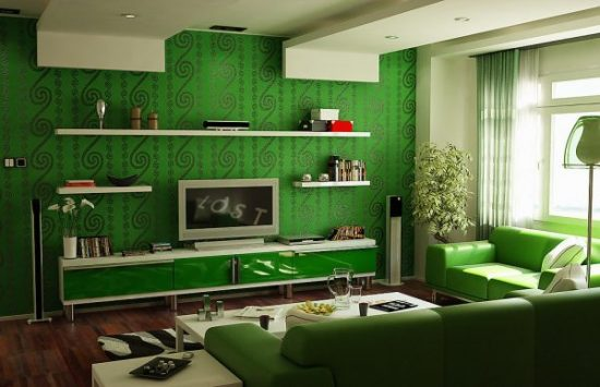 Green leather loveseat for a natural impact in a living area