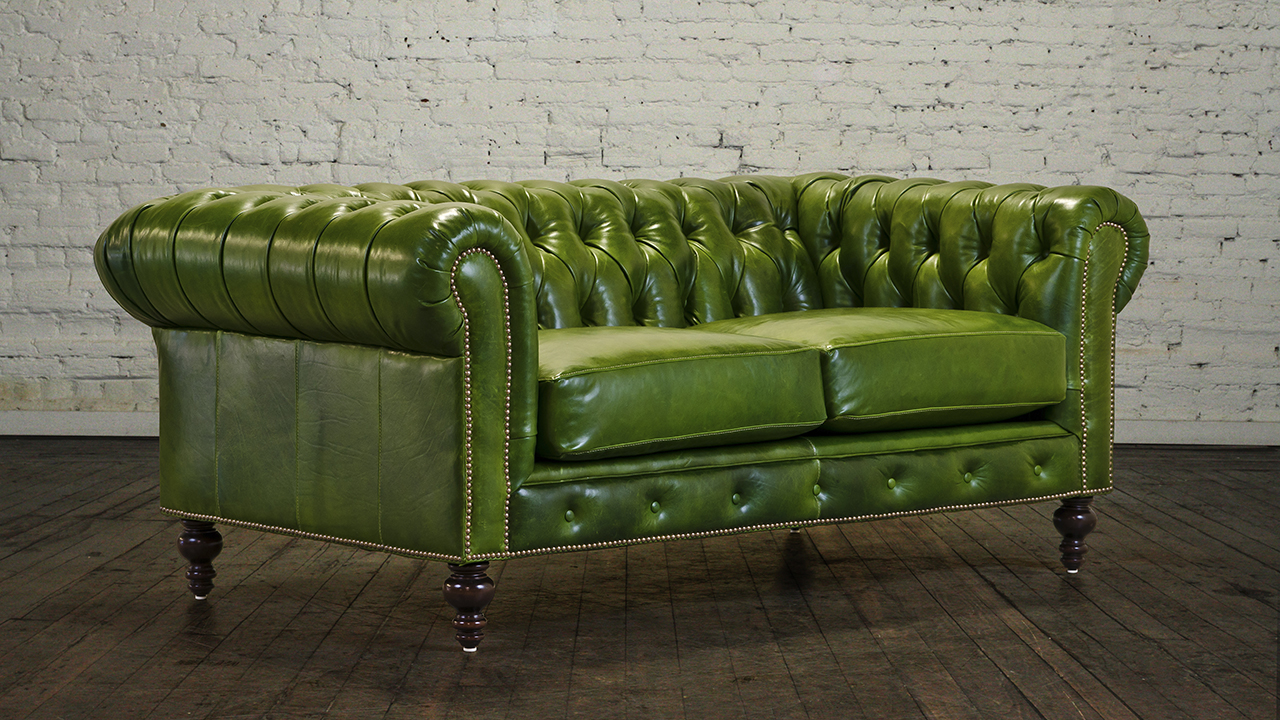 Green Leather Loveseat For A Natural Impact In A Living Area Leather Sofas Loveseat