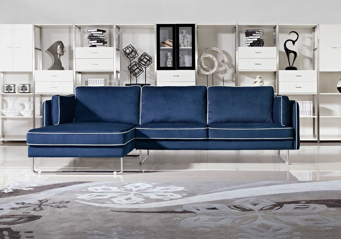 2018 navy blue leather sofas for a bold and stunning for Blue leather sofa