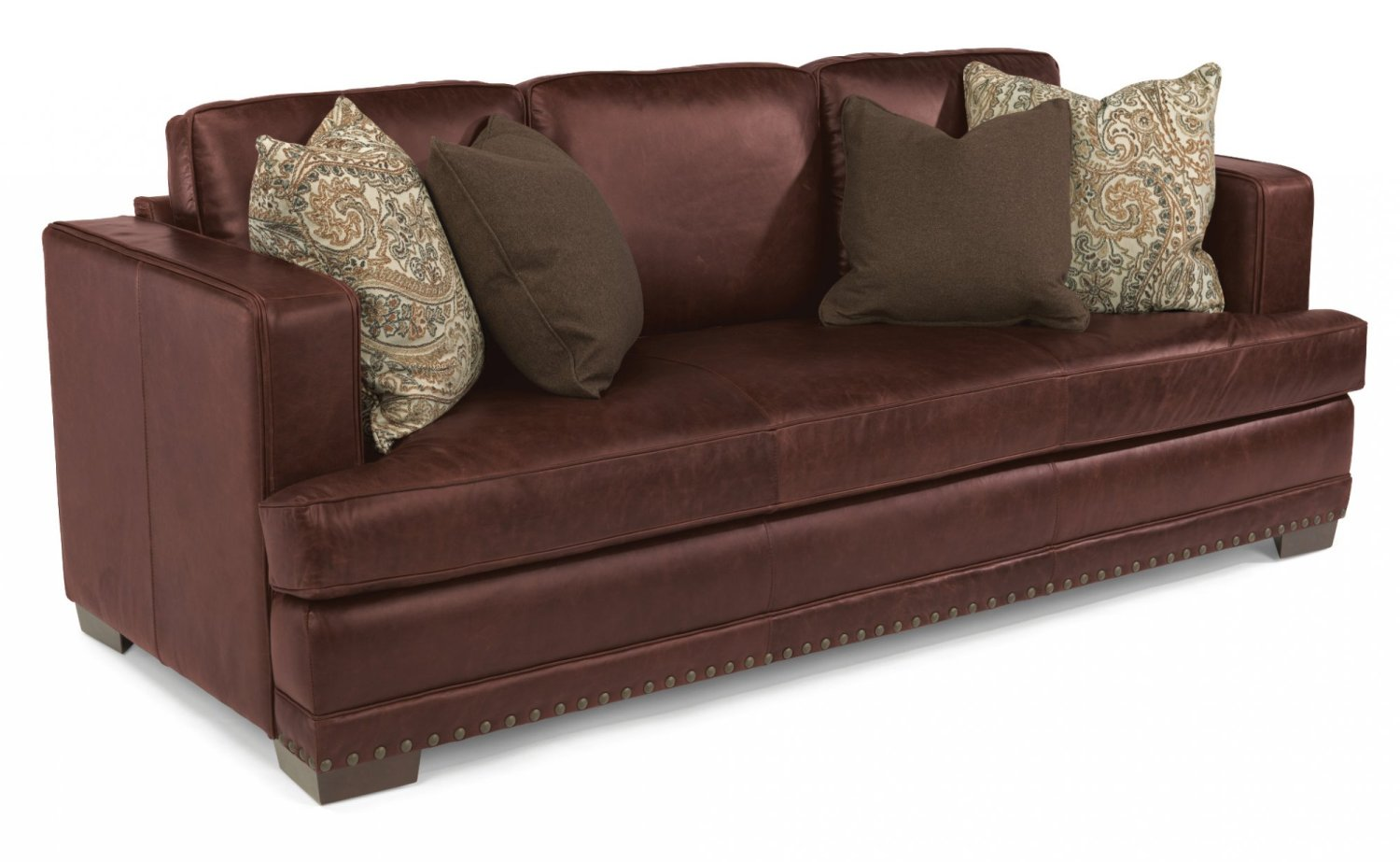 Studded leather sofa studded distressed leather sofa and for Leather studded couch