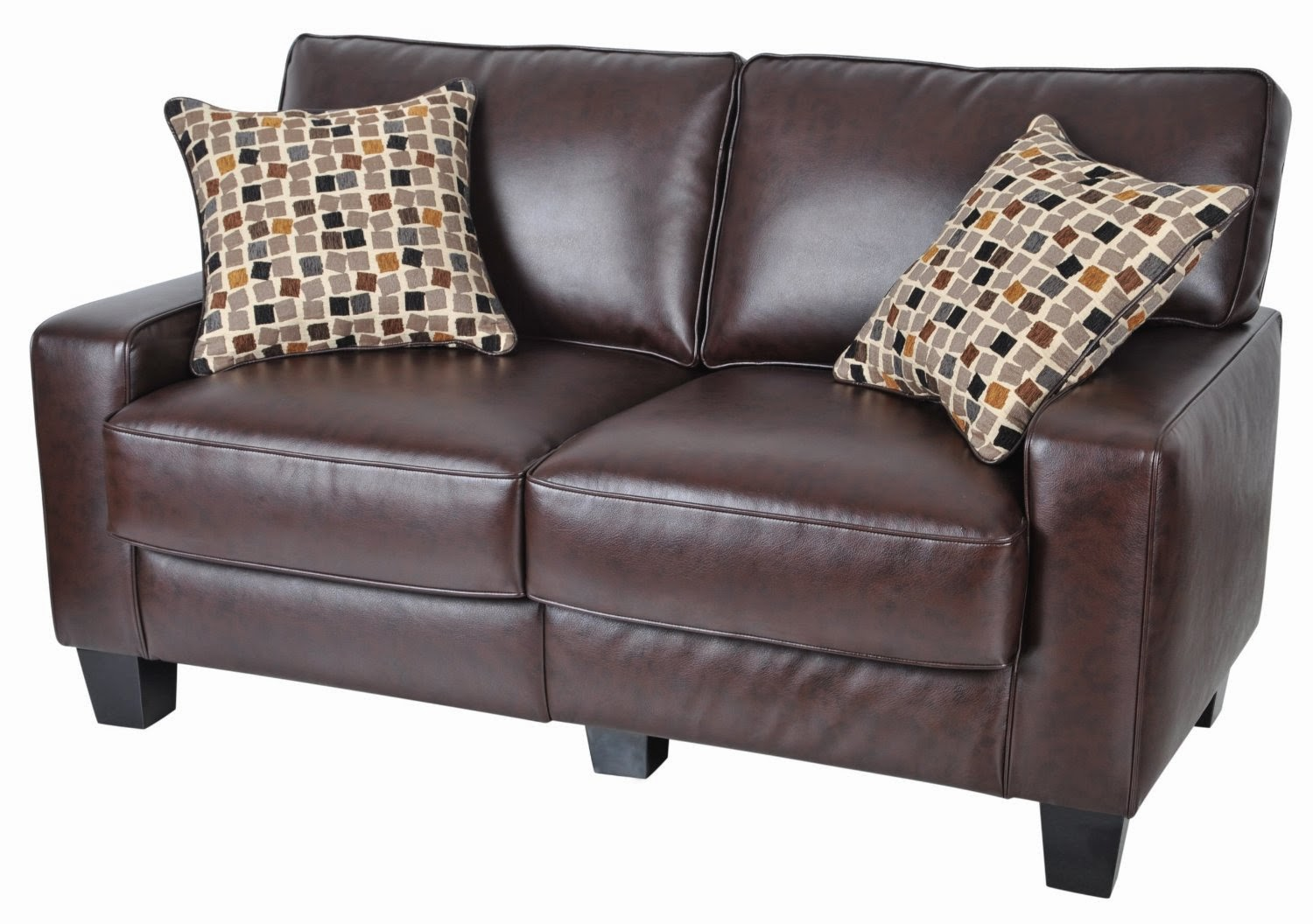 Lovely Living Room Burgundy Leather Sofa
