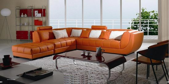 Orange leather sofas; Bright look with warm and comfortable atmosphere