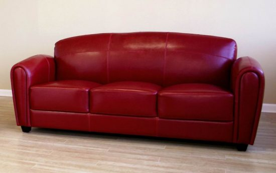 Small Red Leather Sofas For Vibrant Living Area In
