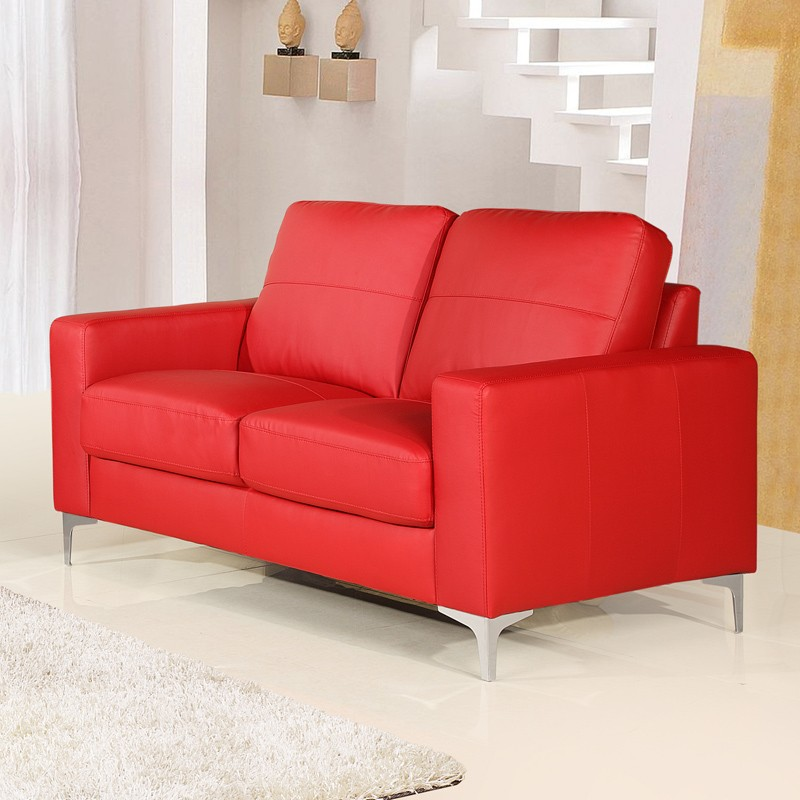 Small Red Leather Sofas