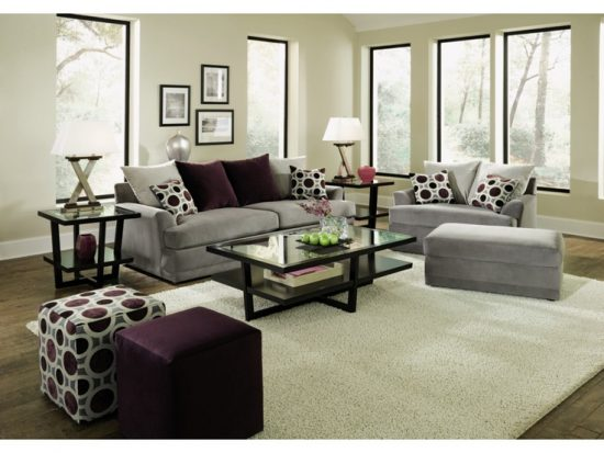 Flex steel sofa designs for your dream home sofa designs for Grey and purple living room furniture
