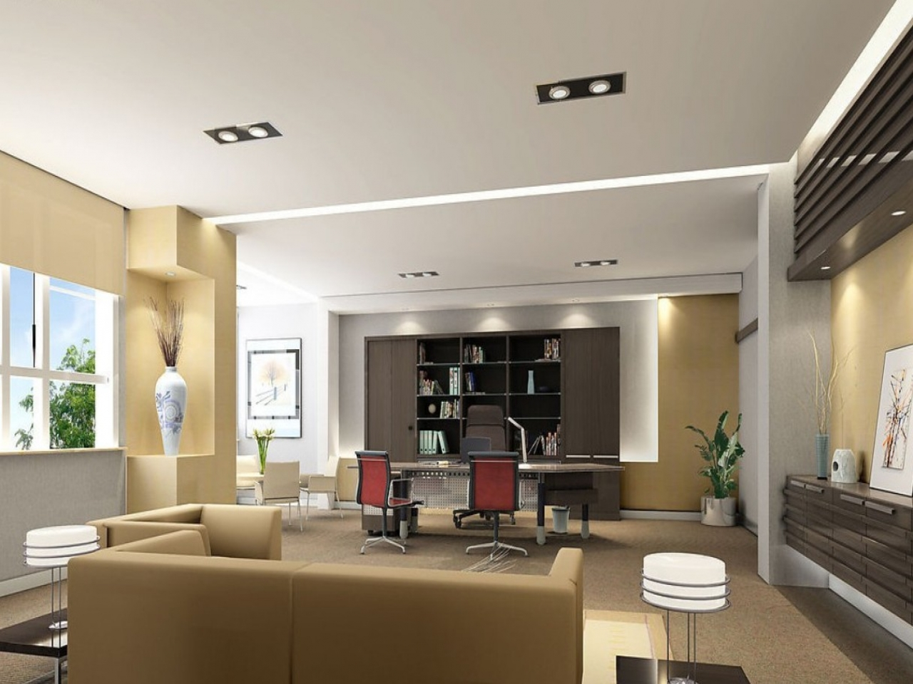 Official sofa design ideas for your work or home office for Modern office ceiling design ideas