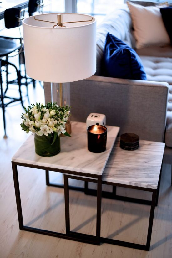2017 Marble Sofa End Tables Aesthetic Beauty with Charming Elegance