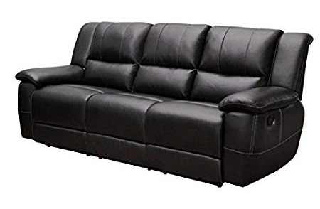 Bowery Hill Transitional Motion Leather Sofa with Pillow Arms in Black 2