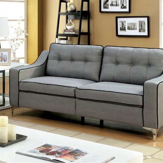 Glenda Contemporary Sofa, Gray Finish