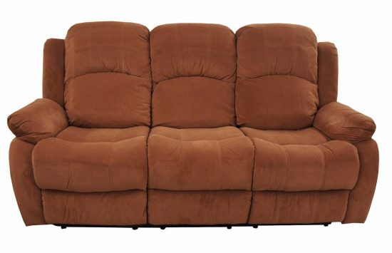 Traditional Brown Brush Microfiber Reclining Sofa