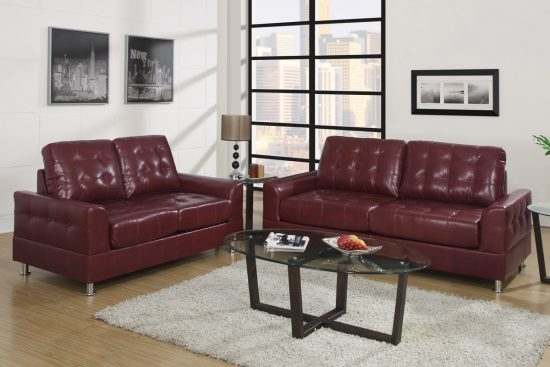 2017 Burgundy Leather Sofas; warm and inviting living room experience