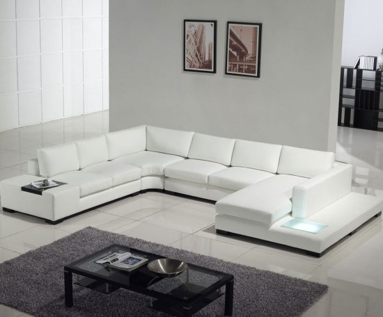 Brighten up your living space with 2017 white leather sofa