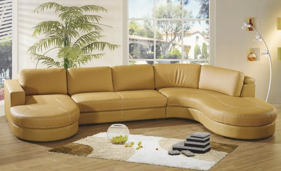 Small cream leather sofas for cozy and elegant small living space
