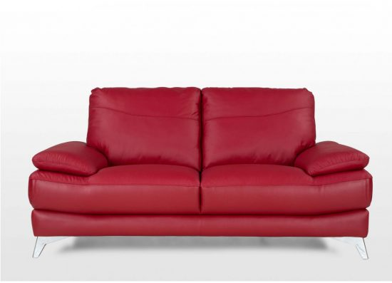 Small Red Leather Sofas For Vibrant Living Area In 2017