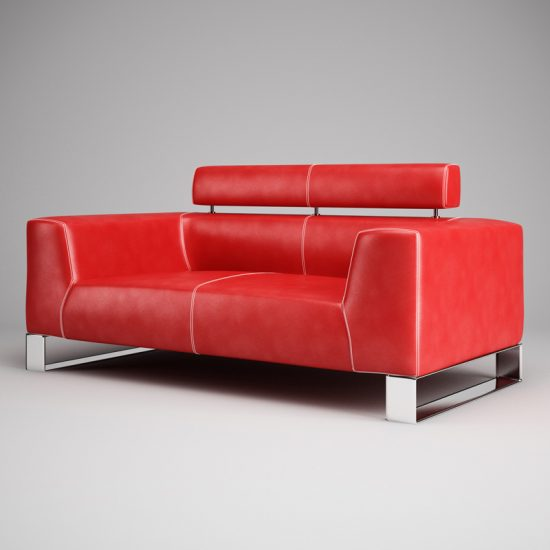 Small red leather sofas for vibrant small living area in 2017